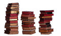 Concept of stacked old books on white Royalty Free Stock Photography