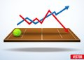 Concept of statistics about the game of tennis background in three dimensional space vector illustration Royalty Free Stock Image