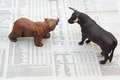 Concept of stock market with bull and bear Stock Photos