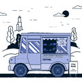 Concept of street food festival. Purple food truck. Colorful vector illustration.