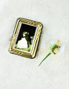Concept with sugared almond photograph in frame of a bride and groom kissing next to decorated as flowers Stock Image