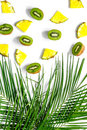 Concept of summer tropical fruits. Pineapple, kiwi and palm branch on white background top view