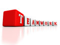 Concept TEAMWORK word blocks raw structure on white background Royalty Free Stock Photo