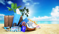 Concept travel to tropical countries Different objects on the be