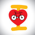 Concept vector of abstract bike icon with i love cycle message this graphic sign represents concepts like healthy lifestyle Stock Photos