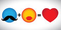 Concept vector formula of love - mustache & lips icons together. Royalty Free Stock Image