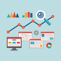 Concept Vector Illustration in Flat Design Style of Web Analytics Information