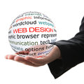 Concept of web design transparent ball with inscription in a hand Stock Photography