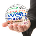 Concept of web marketing in business transparent ball with inscription a hand Royalty Free Stock Images