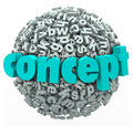 Concept word letter ball sphere idea development on a or of d letters to illustrate thinking about a new or solution and Royalty Free Stock Photo