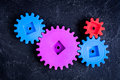 Concept of work process movement gears top view