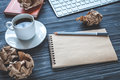 Concept of writer desktop wooden background top view mock up Royalty Free Stock Photo