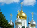 Conception convent in moscow fragment dome and crosses against the blue sky Royalty Free Stock Images