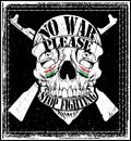 Conception graphique de t shirt de logo emblem de guerre d arrêt d homme de crâne Photographie stock libre de droits