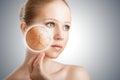 Concepto de efectos de tratamiento y de cuidado de piel cosméticos cara de la mujer joven con la piel seca Imagen de archivo