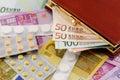 Concepto del coste de la medicación Imagen de archivo libre de regalías