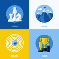 Concepts for strategy mission challenge awards set of modern flat vector business elements websites and mobile apps Royalty Free Stock Images