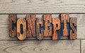 Concepts word background antique wooden letterpress blocks Stock Image