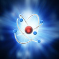 Conceptual atom model a with nucleus and electrons Royalty Free Stock Photo