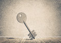 Conceptual background image of concrete key sign in room with wo