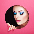 Conceptual beauty portrait of beautiful young woman perfect manicure cosmetic eyeshadows fashion photo Royalty Free Stock Photo