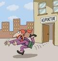 Conceptual cartoon about acupuncture