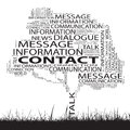 Conceptual contact technology tree word cloud grass background Royalty Free Stock Photos