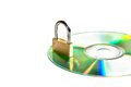 Conceptual of data security compact disk with a lock Royalty Free Stock Images