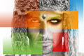 Conceptual fine art portrait fashion of a male model in fur hat with colorful squares in primary colors superimposed Royalty Free Stock Photography