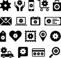 Conceptual gear icons set of made with cogwheels Royalty Free Stock Photo