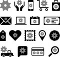 Conceptual gear icons set of made with cogwheels Stock Photography