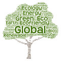 Conceptual green ecology tree word cloud Royalty Free Stock Photo