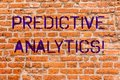 Conceptual hand writing showing Predictive Analytics. Business photo showcasing Method to forecast Perforanalysisce Statistical Royalty Free Stock Photo