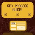 Conceptual hand writing showing Seo Process Guide. Business photo text set actions improve online visibility website in