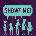 Conceptual hand writing showing Showtime. Business photo showcasing Time a Play Film Concert Perforanalysisce Event is Royalty Free Stock Photo
