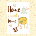 Conceptual handwritten phrase Home Sweet Home with chair, house shoes, bird's cage, birds. Royalty Free Stock Photo