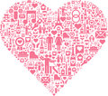 Conceptual heart this is a made with different icons Royalty Free Stock Photography
