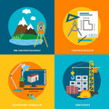 Conceptual icon set for construction, flat style. Vector