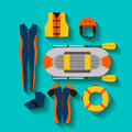 Conceptual icon set for rafting in flat style. vector illustration