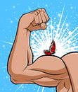 Conceptual illustration describing opposite brute strength muscular arm symbolizes strength butterfly represents fragility Royalty Free Stock Photography