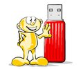 Conceptual illustration of a little guy with a great memory usb pendrive red Stock Photos