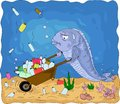 A conceptual illustration of the pollution of the world`s oceans with plastic waste.
