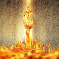Conceptual image of burning dollar sign and fire flames over bin