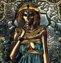 Conceptual interpretation exorbitantly attired ancient egyptian queen who had extensive knowledge metals metallic queen her Royalty Free Stock Photography