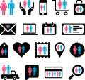 Conceptual man woman icons set of concetual made with a and a Royalty Free Stock Photos