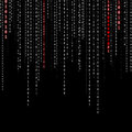 Conceptual matrix binary code with password word background safety computing falling on black background Stock Photo