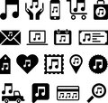 Conceptual music note icons set of made with musical notes Royalty Free Stock Photos