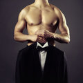 Conceptual photo naked man evening suit Royalty Free Stock Photography