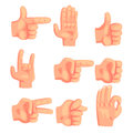 Conceptual Popular Hand Gestures Set Of Realistic Icons With Human Palm Signaling