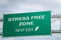Conceptual raod sign about stress free zone next exit against cloudy sky Stock Photography